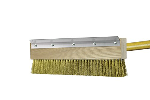 """Chef Felton - CHEF813 - 11"""" Heavy-Duty Brass Pizza Oven Brush - 40"""" Handle - Made in ()"""