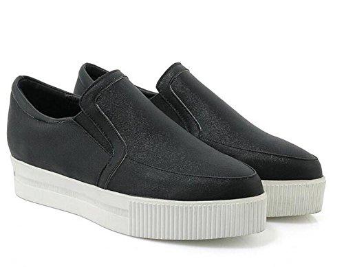 Plataforma de Heel Piel Primavera y Impermeable BLACK de Casual Wedge Zapatos de 36 38 XIE Otoño Reparación wqtO5Ix