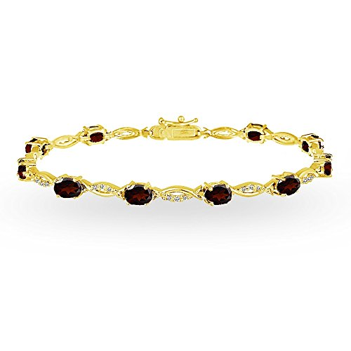 - GemStar USA Yellow Gold Flashed Sterling Silver Garnet and White Topaz Oval-Cut Swirl Tennis Bracelet