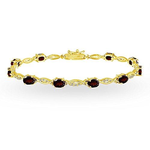 (GemStar USA Yellow Gold Flashed Sterling Silver Garnet and White Topaz Oval-Cut Swirl Tennis Bracelet )