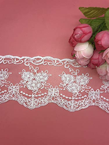 8CM Width Europe Crown Ribbon Wedding Applique Inelastic Embroidery Lace Trim,Curtain Tablecloth Slipcover Bridal DIY Clothing/Accessories.(2 Yards in one Package) (White)