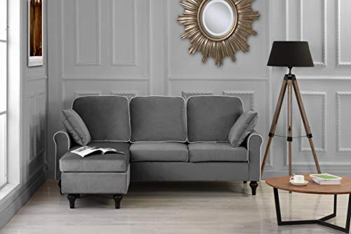 Madison Home Traditional Small Space Velvet Sectional Sofa with Reversible Chaise Grey