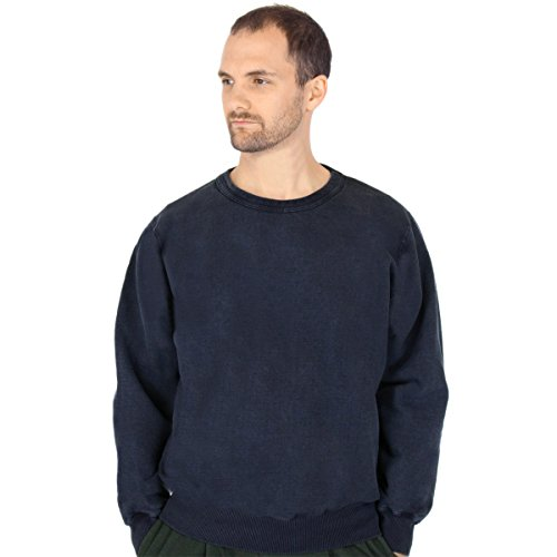 CottonMill Men's 100% Cotton Crew Sweatshirt - 20oz Heavy Weight (Large, Dark - 100 Sweatshirts Cotton
