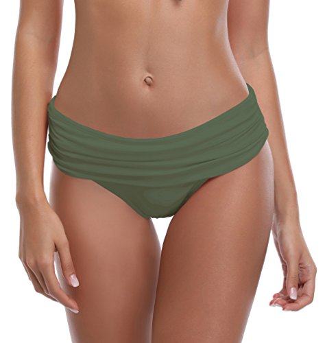 SHEKINI Women's Swimsuit Hipster Bikini Bottoms Full Coverage Ruched High Waisted Swim Bottoms (X-Large, Olive Green)