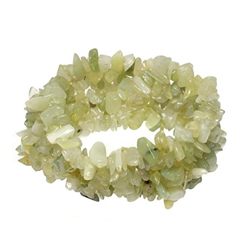 CrystalAge New Jade Gemstone Chip Cuff Bracelet