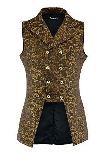 Darkrock Men's Double Breasted Governor Vest Waistcoat VTG Brocade Gothic Steampunk/Brocade Gold (X-Large, Brocade Gold)