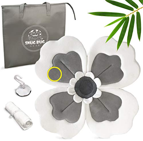 Baby Bath Blossom Travel Set by Snug Bug Gear | Organic Bamboo & Cotton Infant Sink & Tub Bathing Flower | Seat Design Supports Newborn | 0-2yrs (Pillow Grey/Dark Gray)