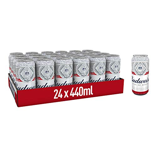 Budweiser Lager Beer 24x440ml Cans – Premier League Edition – 4.5% ABV – Ideal Gift for Party