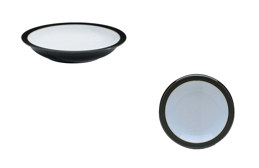 Denby Jet Rim Soup Bowl and Small Plate, Set of 2