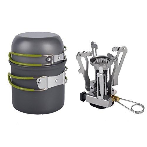 Yiyu tragbar Campingkocher Set Outdoor Kochen Werkzeug Kochgeschirr mit mini Kanister Herd Camping Töpfe & Pfannen Wanderrucksäcke aus Aluminiumoxid für alle Aktivitäten im Freien (Anthrazit)