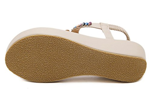 Strap Wedge C Women's Slingback DADAWEN Sandal T Toe Shoes Beach Heel Apricot Clip Platform TIOzq