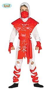 Disfraz Ninja Rojo y Blanco para niño: Amazon.es: Juguetes y ...