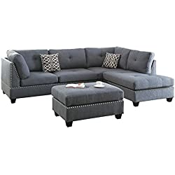 Poundex F6975 Bobkona Kipp Sectional with Ottoman, Blue Grey