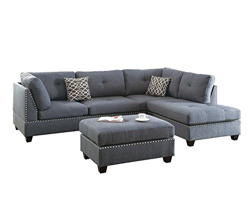 Poundex F6975 Bobkona Kipp Sectional with Ottoman, Blue - Plush Set Sofa Sectional