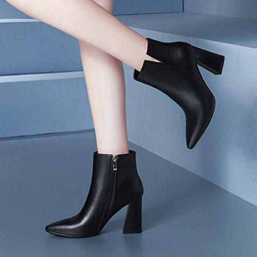 de Mujeres Zapatos Señalan Y Los Negro Las ZH Los con Mujer de Zapatos Ásperas Caen Tacones de Occidentales Altos Las de de Botas Invierno Mujeres 7qZvp5Z