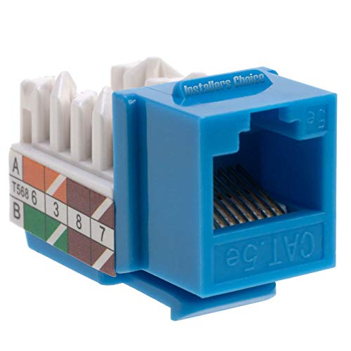 Cat5 RJ45 Keystone Jack Cat5e Punch-Down Network Blue (50) (Cat5e Keystone Jack)