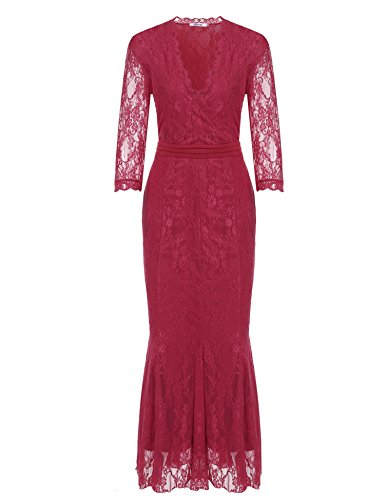 Meaneor Women's Plus Size Sexy V Neck Lace Empire Waist Long Evening Party Dresses (L-4XL)
