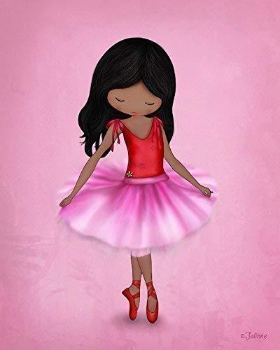 Poster of Ballerina for Girl Room African American Dark Skin Black Hair Pink Wall Art Dancing Nursery Decor Unframed 8x10 Print ()