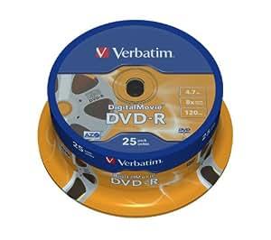 Verbatim Digital Movie DVD-R Disc 8x, 4.7GB, Pack de 25