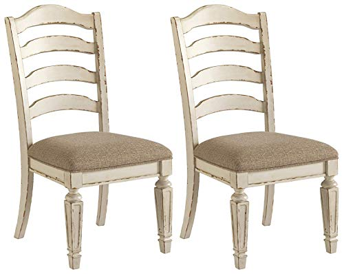 Signature Design By Ashley - Realyn Dining Upholstered Side Chair - Set of 2 - Casual Style - Chipped White