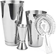 Cresimo Boston Shaker 4 Piece Cocktail Making Set: 18oz Unweighted & 28oz Weighted Professional Bartender