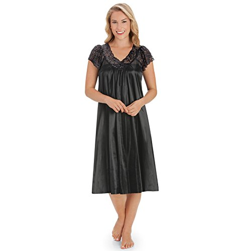 Collections Etc Women's Silky Lace Neckline Tricot Gown, Black, XX-Large by Collections Etc