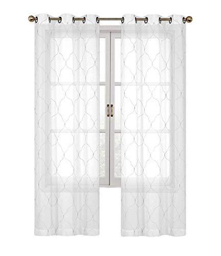 - 2 Pack: Regal Home Collections Brenda Trellis Embroidered Sheer Voile Grommet Curtain Panels - Assorted Colors (White)