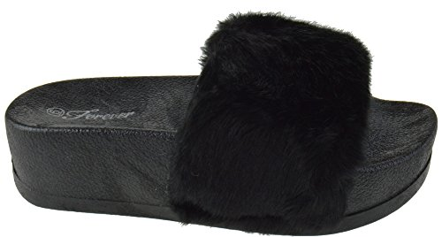 Faux Platform Fur Link Sandals Softy On Slider Elevated Lucky 28 Slip Black Women xtwCpR