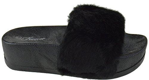 Softy 28 Slip Elevated Faux Lucky Platform Link Slider On Fur Women Black Sandals w4AqWXaO