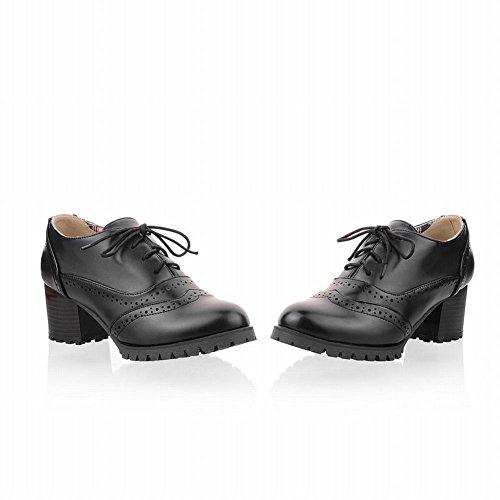 Zapatos Carol Moda Para Mujer De Estilo Británico Con Cordones Chunky Middel Tacón Oxfords Zapatos Negro