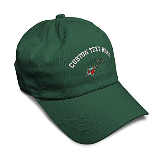 Custom Soft Baseball Cap Kite Embroidery Twill Cotton Dad Hats for Men & Women Buckle Closure Forest Green Personalized Text Here