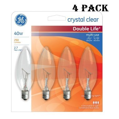 Blunt Tip Light Bulb (GE Decorative Light Bulb Blunt Tip 40W, 250 Lumens, Candelabra Base; Crystal Clear 2500K (4 Pack))
