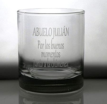 Arte-Deco Vaso DE Whisky BAJO Personalizado Regalo Abuelo-Abuela, Grabado cumpleaños, Aniversario, día Padre y Madre, jubilación, Hombre y Mujer