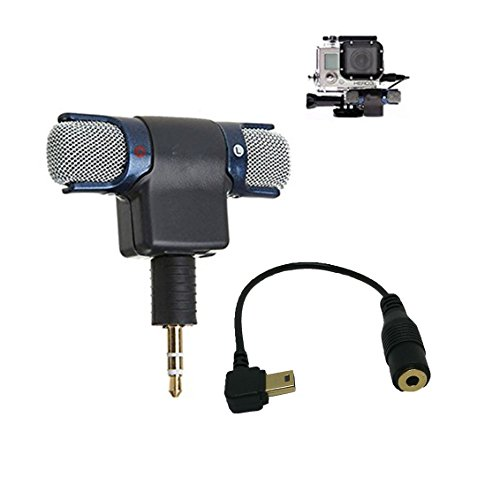 Stereo Condenser Microphone for GoPro Hero 3 3+ 4 Mic Cable Adapter - 4