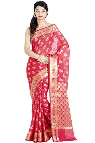 Chandrakala Red Banarasi Cotton Silk Saree