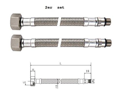 2 Piezas Longitud 350mm M10X1 Homologaciones para agua potable ha KTW y aprobaci/ón DVGW DN 8 BENE Latiguillo Inoxidable Conexion Flexible de Griferia Hembra 3//8