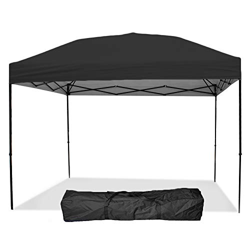 Punchau Pop Up Canopy Tent 10 x 10 Feet, Black - UV Coated, Straight Leg, Waterproof Instant Outdoor Party Gazebo Tent