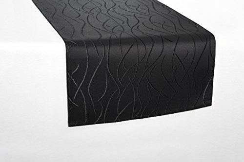 Tischläufer eckig in glänzender Streifenoptik 40x140cm schwarz , Premium Stoffqualität , Farbe und Größe wählbar, toller Glanz, natürliche Optik und pflegeleicht