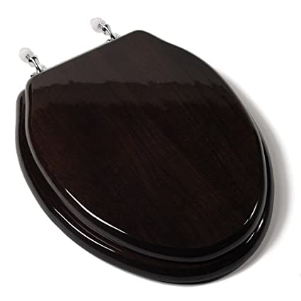 Comfort Seats C1b1e 18ch Designer Solid Wood Toilet Seat With Pvd Chrome Hinges Elongated Dark Brown