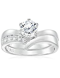 Platinum Plated Sterling Silver Cubic Zirconia Round Solitaire Ring with Chevron Band Ring Set