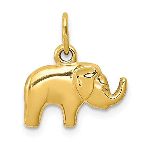 14k Yellow Gold Elephant Pendant Charm Necklace Animal Fine Jewelry For Women Gift Set