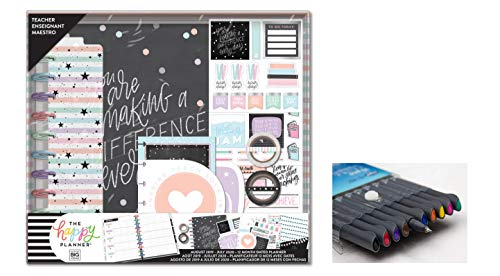 eate 365 The Happy Planner, Big Box Teachers Edition: Teachers are Awesome 12 Month Planner, July 2019 - Aug 2020 Comes with Kemah Craft Fineliner Color Pens (Box-205) ()