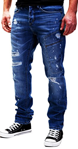 Pantalones Modell Costura para MERISH y con Vaqueros Moderno Destruido Hombre J2081 Parcheado Hombres Casual Decorativa Blu TOgqI