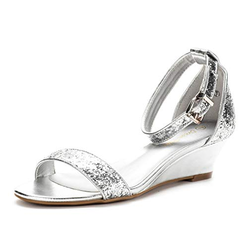 DREAM PAIRS Women's Ingrid Silver Glitter Ankle Strap Low Wedge Sandals - 11 M US