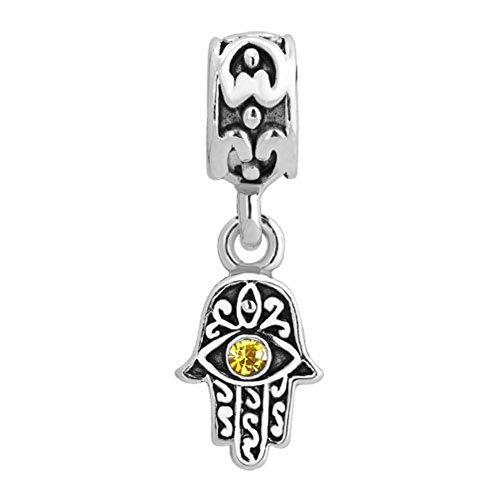 ReisJewelry Lucky Charm Evil Eye Hamsa Hand Charms Beads For Bracelets (Nov (Evil Eye Heart Bracelet)