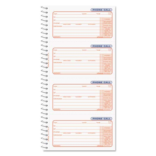 Universal Office Products Wirebound Phone Call Message Book, 4 Forms/Pg, 400 Sets/Book