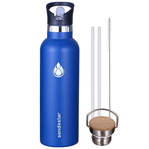 Sendestar 26 oz Double Wall Vacuum Insulated Leak Proof Stainless Steel Sports Water Bottle -Standard Mouth with Straw Lid & Bamboo Lid (Cobalt) (Cobalt Lid)