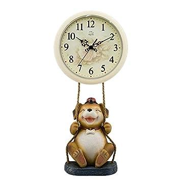 Carcasa de plástico duro - relojes de pared - Reloj de pared con mecanismo de cuarzo silencioso de barrido de segunda Cute dibujos animados péndulo Dyd ...