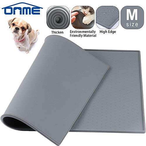 (ONME Dog Feeding Mat, Silicone Waterproof Pet Food Mat, Non Slip Dog Bowl Placemat [ 18.5 11.8 in & 23.615.7in ])