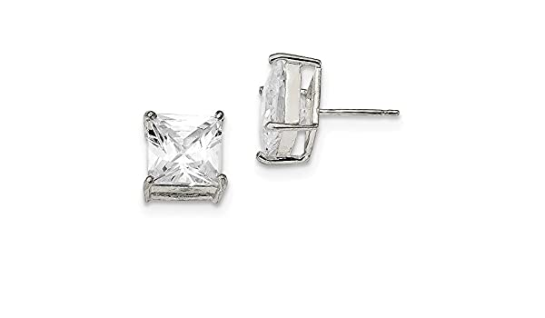 Lex /& Lu Sterling Silver 10x8 CZ Stud Earrings